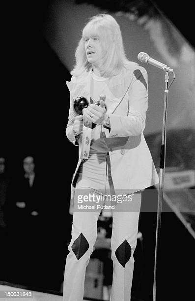Singer Brian Connolly performing with British glam rock group Sweet on the BBC TV show 'Top Of The Pops' London 23rd February 1972