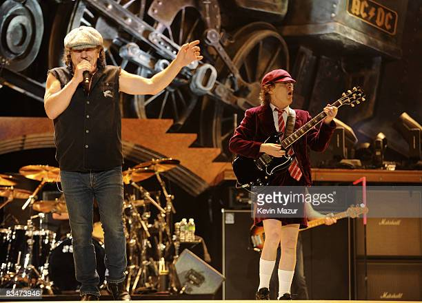 Singer Brian Johnson and guitarist Angus Young of AC/DC perform during their 'Black Ice' Tour Opener on October 28 2008 in WilkesBarre Pennsylvania