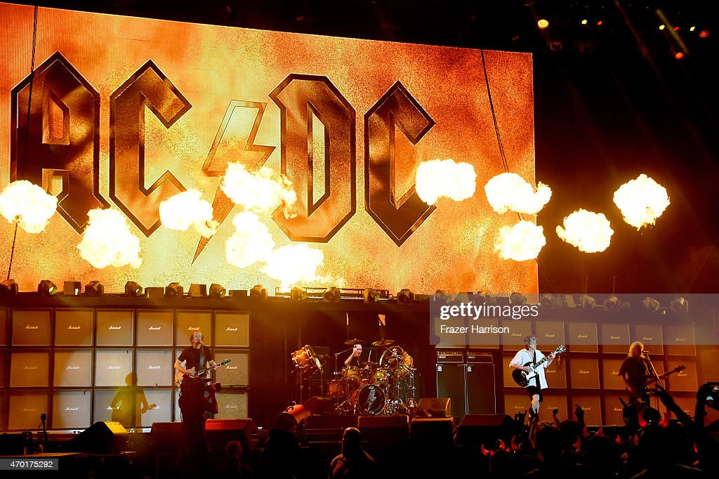 Singer Brian Johnson and musician Angus Young of AC/DC perform onstage during day 1 of the 2015 Coachella Valley Music And Arts Festival at The...