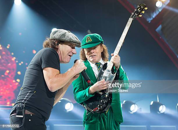 Singer Brian Johnson and musician Angus Young of AC/DC performs at Sprint Center on February 28 2016 in Kansas City Missouri