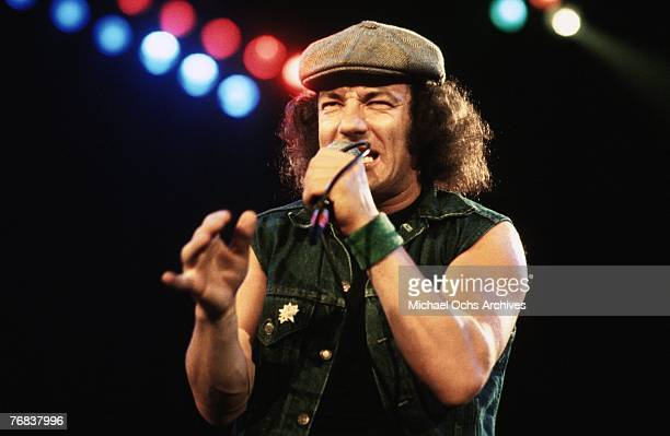 Singer Brian Johnson of AC/DC performs a show on October 18 at the Forum in Inglewood California