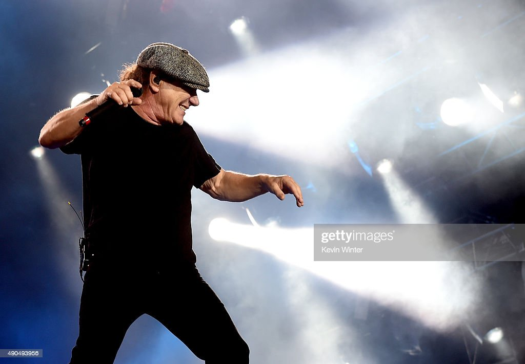 Singer Brian Johnson of AC/DC performs at Dodger Stadium on September 28, 2015 in Los Angeles, California.