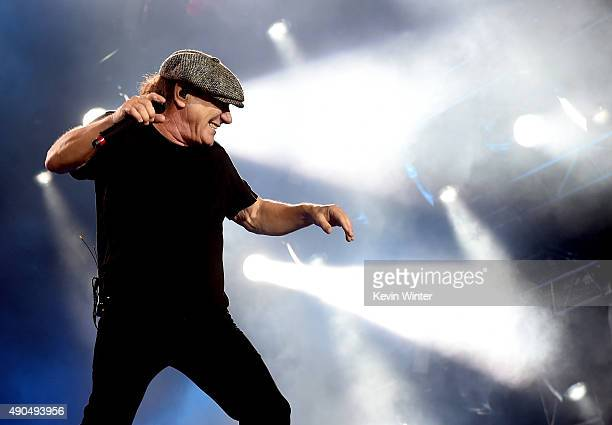 Singer Brian Johnson of AC/DC performs at Dodger Stadium on September 28 2015 in Los Angeles California