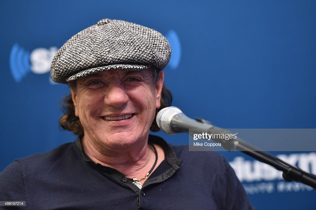 Singer <a gi-track='captionPersonalityLinkClicked' href=/galleries/search?phrase=Brian+Johnson+-+Musiker&family=editorial&specificpeople=221497 ng-click='$event.stopPropagation()'>Brian Johnson</a> of the band AC/DC attends the SiriusXM's 'Town Hall' With AC/DC's Angus Young And <a gi-track='captionPersonalityLinkClicked' href=/galleries/search?phrase=Brian+Johnson+-+Musiker&family=editorial&specificpeople=221497 ng-click='$event.stopPropagation()'>Brian Johnson</a> on November 17, 2014 in New York City.