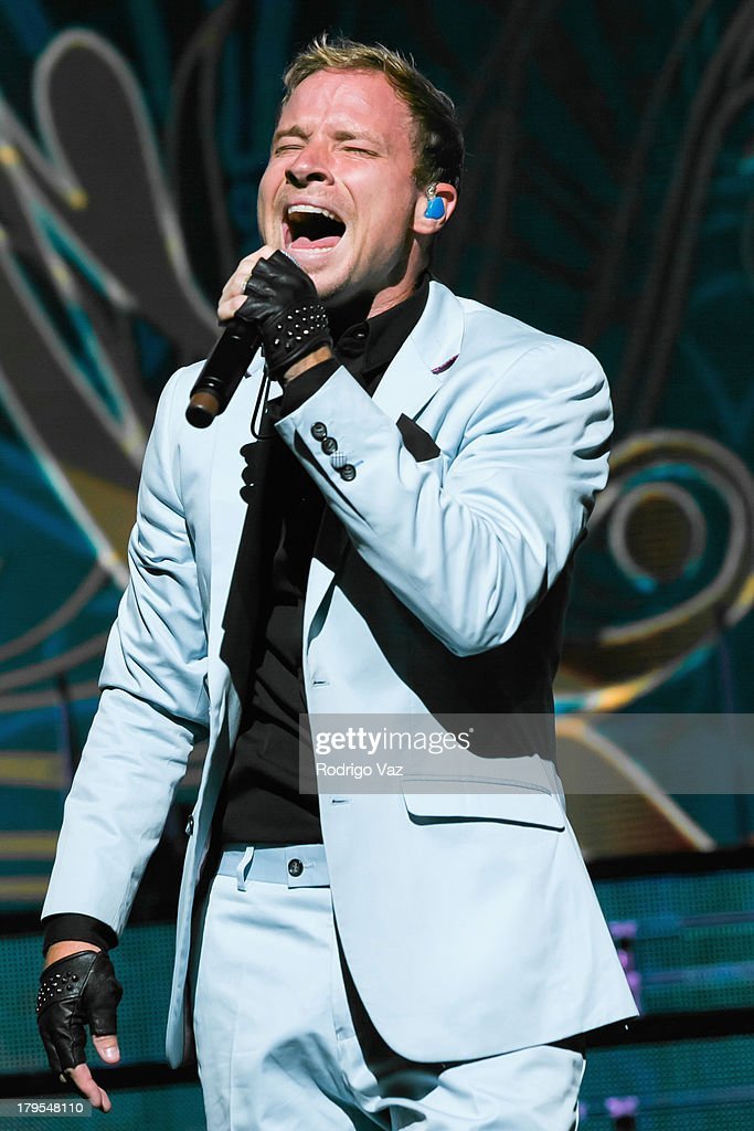 Singer Brian Littrell of Backstreet Boys performs at Backstreet Boys In Concert at Gibson Amphitheatre on September 4, 2013 in Universal City, California.