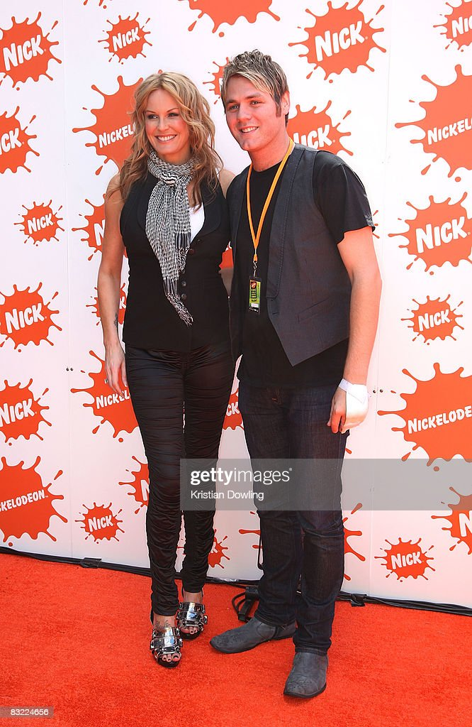 Singer Brian McFadden and TV host Charlotte Dawson arrive at the Nickelodeon Australian Kids' Choice Awards 2008 at the Hisense Arena on October 11...