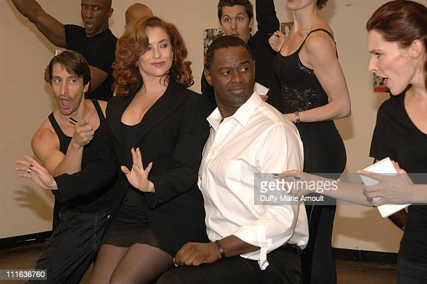 Singer Brian McKnight and Broadway actress Michelle DeJean during rehearsals for his Broadway debut as Billy Flynn in 'Chicago' at MTC Studios on...