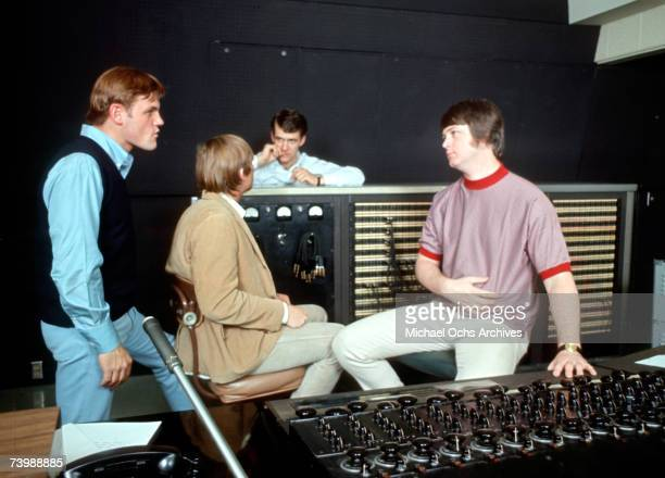 Singer Brian Wilson of the rock and roll band 'The Beach Boys' talks to engineers and other onlookers while recording the album 'Pet Sounds' in 1966...