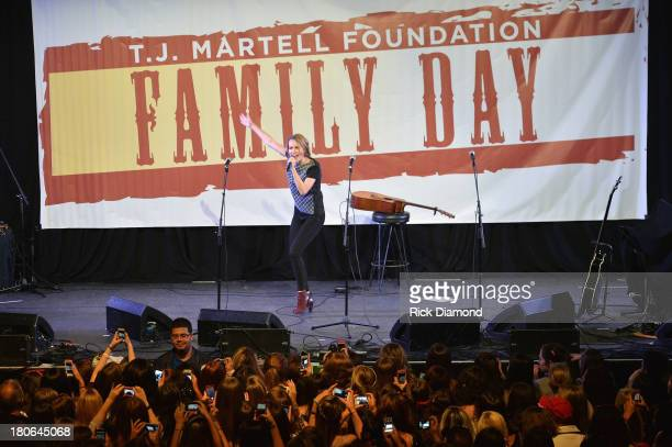 Singer Bridgit Mendler performs onstage at the 'TJ Martell Foundation's 14th Annual Family Day Honoring Paradigm Talent Agency's Marty Diamond and...