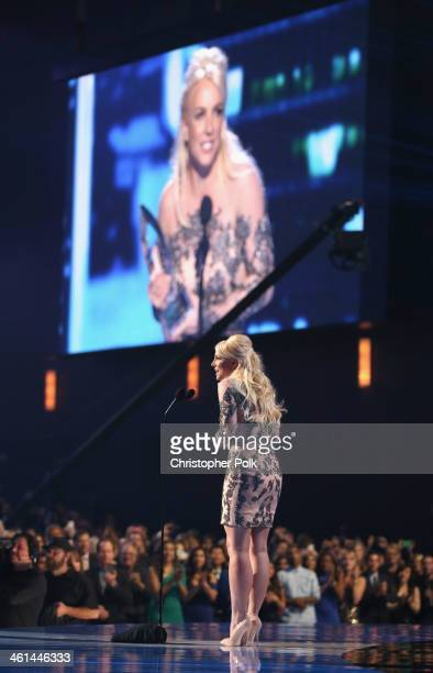 Singer Britney Spears accepts the Favorite Pop Artist award onstage at The 40th Annual People's Choice Awards at Nokia Theatre LA Live on January 8...