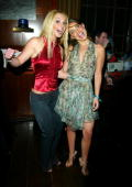 Singer Britney Spears and actress Natalie Portman host a New Year's Eve party at the Hudson Hotel December 31 2002 in New York City