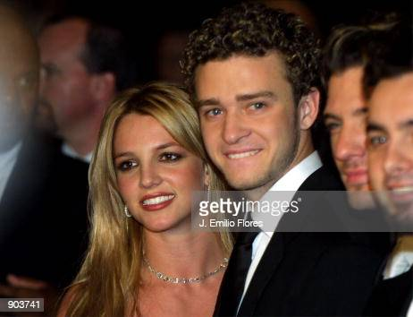 Singer Britney Spears and boyfriend Justin Timberlake from the band N'sync arrive at Clive Davis'' pregrammy awards gala February 26 2002 in Beverly...