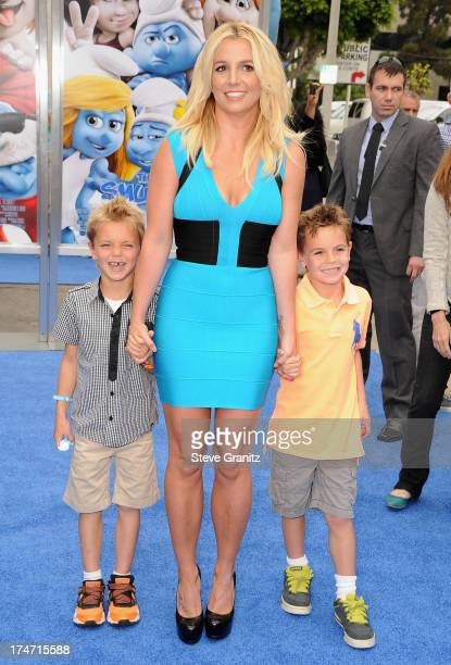 Singer Britney Spears and her sons Sean Federline and Jayden James Federline attend the premiere Of Columbia Pictures' 'Smurfs 2' at Regency Village...