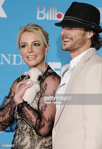 Singer Britney Spears and husband Kevin Federline arrive at the 2004 Billboard Music Awards on December 8 2004 at the MGM Grand Garden Arena in Las...