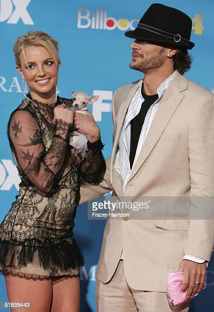 Singer Britney Spears and husband Kevin Federline arrive at the 2004 Billboard Music Awards on December 8 2004 at the MGM Grand Garden Arena in Las...