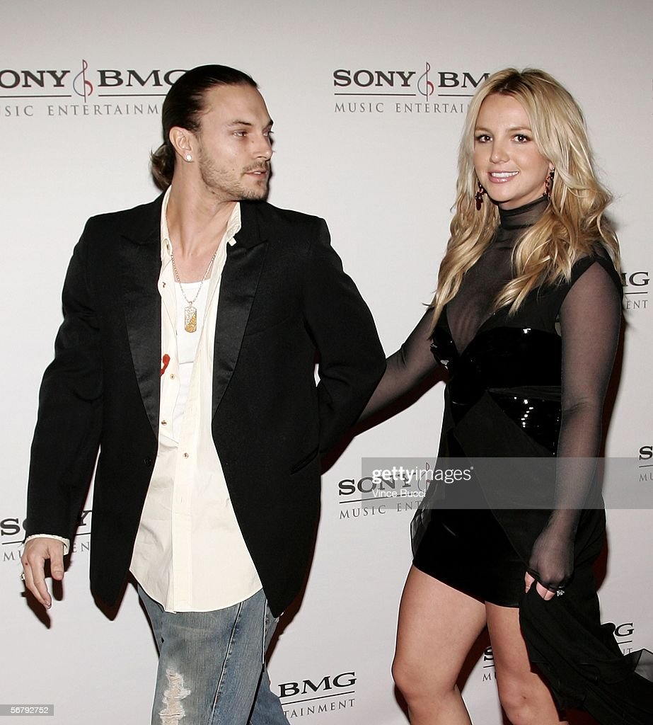 Singer <a gi-track='captionPersonalityLinkClicked' href=/galleries/search?phrase=Britney+Spears&family=editorial&specificpeople=156415 ng-click='$event.stopPropagation()'>Britney Spears</a> (R) and husband Kevin Federline arrive at the SONY BMG Grammy Party held at The Hollywood Roosevelt Hotel on February 8, 2006 in Hollywood, California.