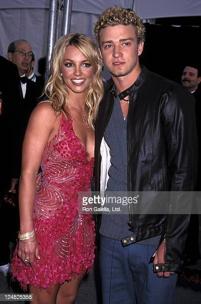 Singer Britney Spears and singer Justin Timberlake of N'Sync attend the 29th Annual American Music Awards on January 9 2002 at Shrine Auditorium in...