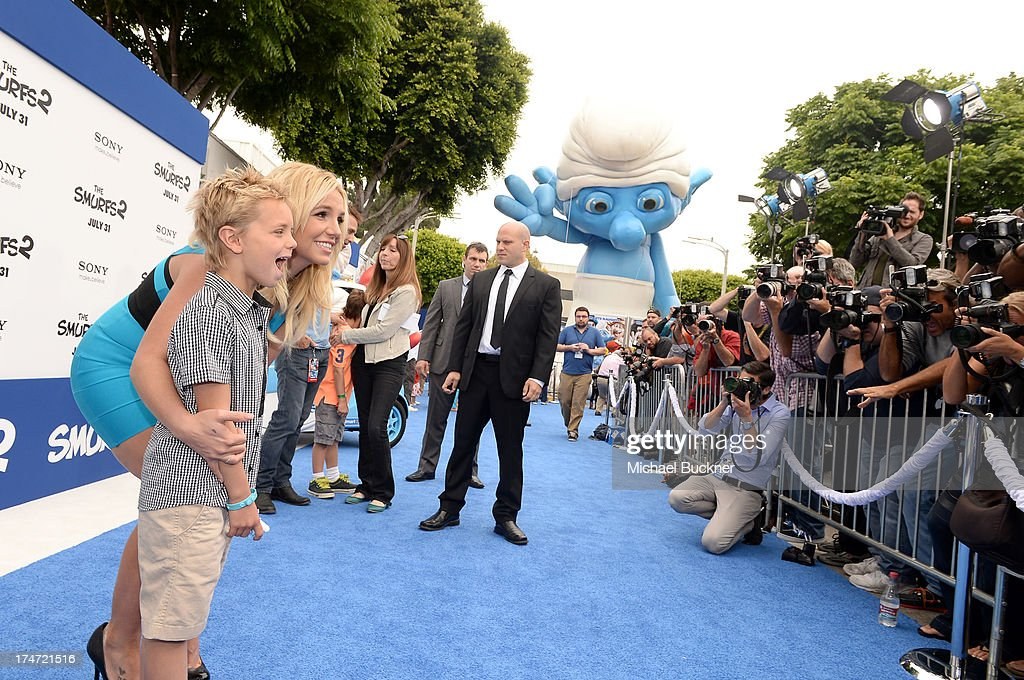 Singer <a gi-track='captionPersonalityLinkClicked' href=/galleries/search?phrase=Britney+Spears&family=editorial&specificpeople=156415 ng-click='$event.stopPropagation()'>Britney Spears</a> and son Sean Federline attend the Los Angeles premiere of 'The Smurfs 2' at Regency Village Theatre on July 28, 2013 in Westwood, California.