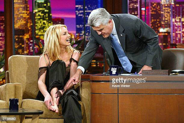 Singer Britney Spears appears on 'The Tonight Show with Jay Leno' at the NBC Studios on November 17 2003 in Burbank California