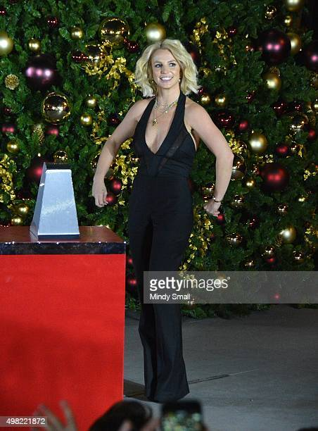 Singer Britney Spears arrives at a Christmas treelighting ceremony at The LINQ Promenade on November 21 2015 in Las Vegas Nevada