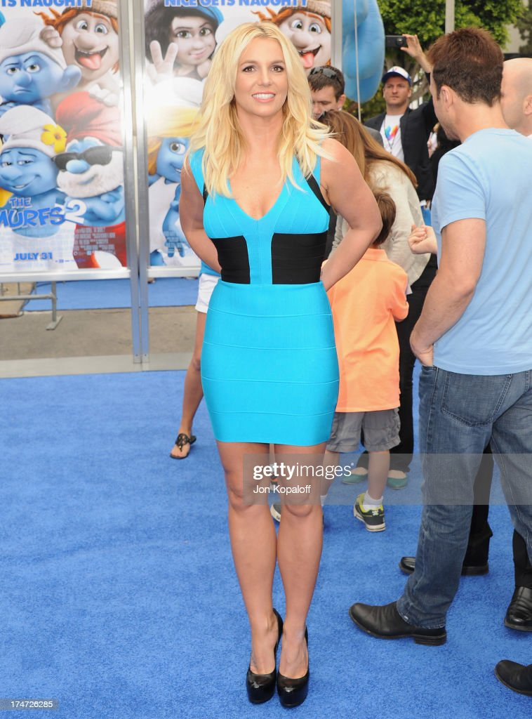 Singer Britney Spears arrives at the Los Angeles Premiere 'Smurfs 2' at Regency Village Theatre on July 28, 2013 in Westwood, California.