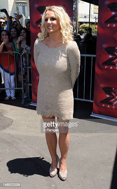 Singer Britney Spears arrives at 'The X Factor' Season 2 auditions at ORACLE Arena on June 18 2012 in Oakland California