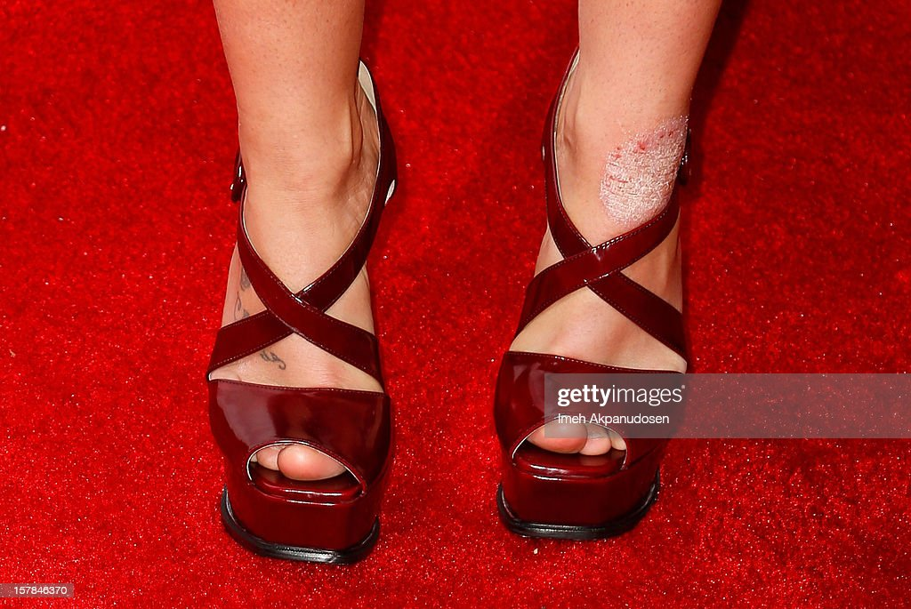 Singer Britney Spears (shoe detail) attends Fox's 'The X Factor' viewing party at Mixology101 & Planet Dailies on December 6, 2012 in Los Angeles, California.