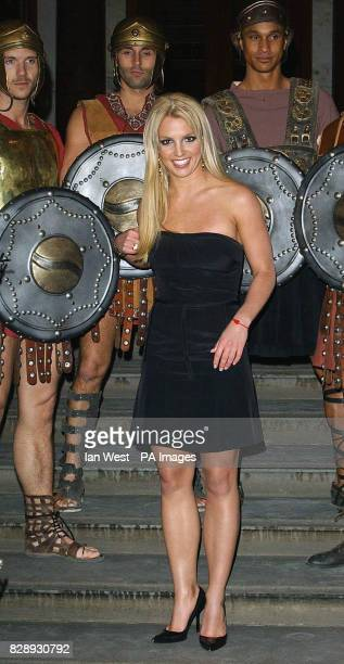 Singer Britney Spears during the Pepsi Gladiator TV Commercial global premiere at the National Gallery in Trafalgar Square central London The ad...