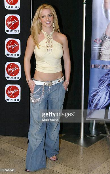 Singer Britney Spears is photographed during an instore appearance to celebrate the release of her latest album 'In The Zone' at the Virgin Megastore...