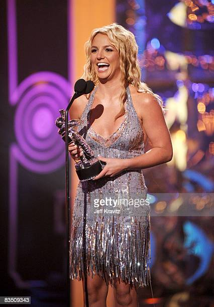 Singer Britney Spears on stage at the 2008 MTV Video Music Awards at Paramount Pictures Studios on September 7 2008 in Los Angeles California