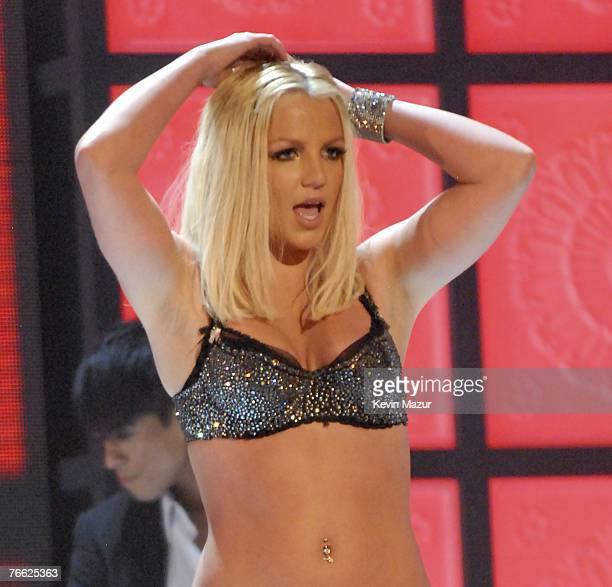 Singer Britney Spears performs at the 2007 MTV Video Music Awards at The Pearl Concert Theater on September 9 2007 in Las Vegas Nevada