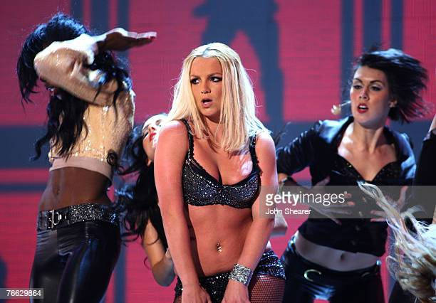Singer Britney Spears performs during the 2007 MTV Video Music Awards at The Palms Hotel and Casino on September 9 2007 in Las Vegas Nevada