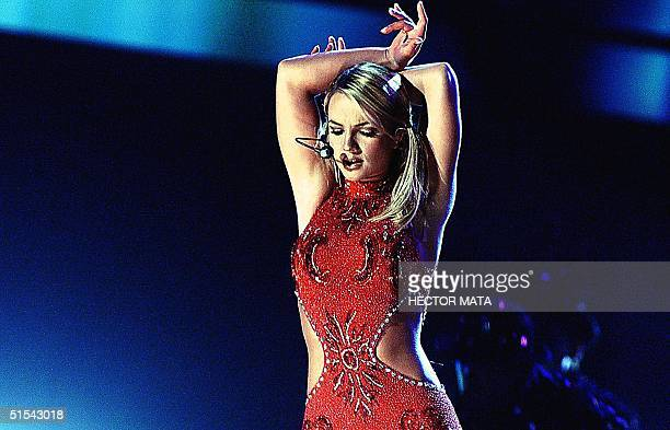 Singer Britney Spears performs during the 42nd Annual Grammy Awards in Los Angeles CA 23 February 2000 AFP PHOTO/Hector MATA