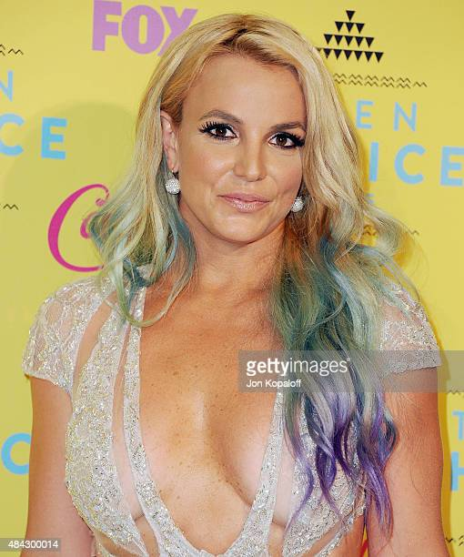 Singer Britney Spears poses in the press room at the Teen Choice Awards 2015 at Galen Center on August 16 2015 in Los Angeles California
