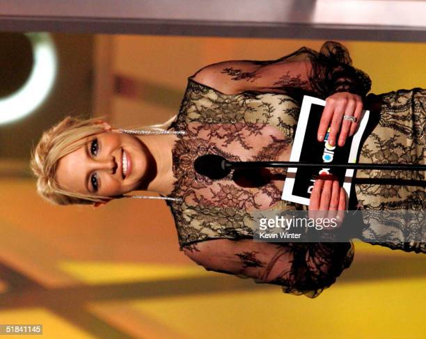 Singer Britney Spears presents on stage during the 2004 Billboard Music Awards at the MGM Grand Arena on December 8 2004 in Las Vegas Nevada
