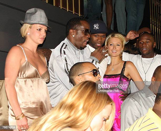 Singer Britney Spears Rapper P Diddy 50 Cents Paris Hilton and Dallas Austin at The Hard Rock on September 8 2007 in Las Vegas Nevada