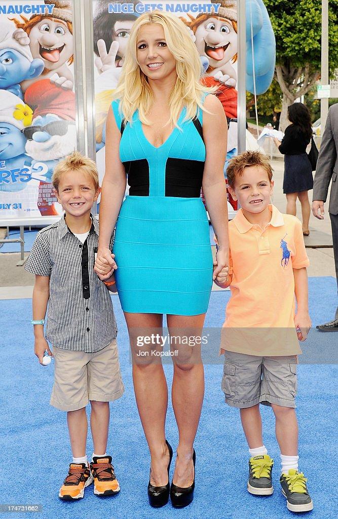 Singer Britney Spears, son Sean Federline (R) and son Jayden Federline (L) arrive at the Los Angeles Premiere 'Smurfs 2' at Regency Village Theatre on July 28, 2013 in Westwood, California.