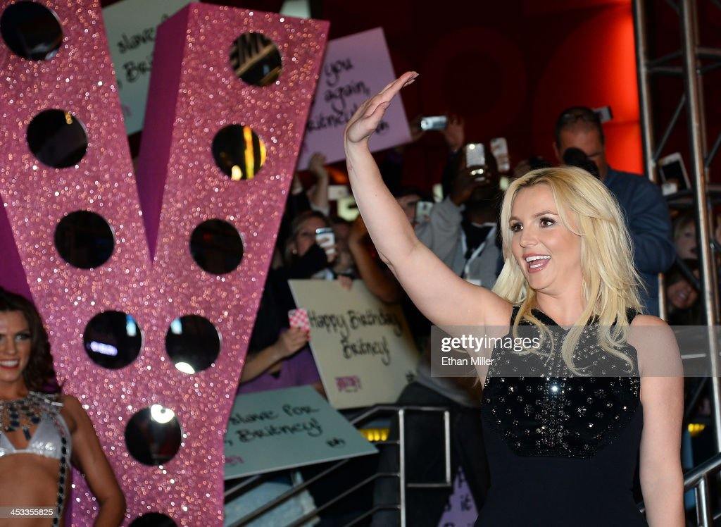 Singer <a gi-track='captionPersonalityLinkClicked' href=/galleries/search?phrase=Britney+Spears&family=editorial&specificpeople=156415 ng-click='$event.stopPropagation()'>Britney Spears</a> waves at a welcome ceremony as she celebrates the release of her new album 'Britney Jean' and prepares for her two-year residency at Planet Hollywood Resort & Casino on December 3, 2013 in Las Vegas, Nevada. Spears' show 'Britney: Piece of Me' will debut at the resort on December 27, 2013.