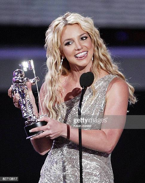 Singer Britney Spears wins Best Pop Video for 'Piece of Me' at the 2008 MTV Video Music Awards on the Paramount Studios lot on September 7 2008 in...