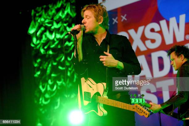 Singer Britt Daniel of the band Spoon performs onstage during the SXSW Radio Day Stage at the Austin Convention Center on March 17 2017 in Austin...