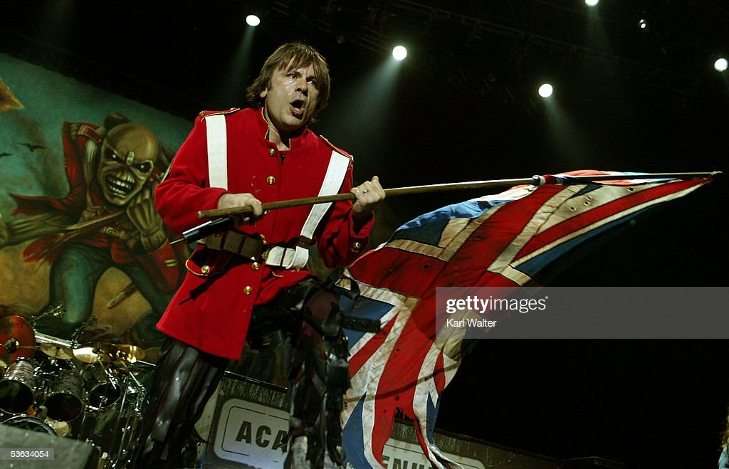 Singer Bruce Dickinson of Iron Maiden performs at Ozzfest 2005 at the Hyundai Pavilion on August 20 2005 in San Bernandino California