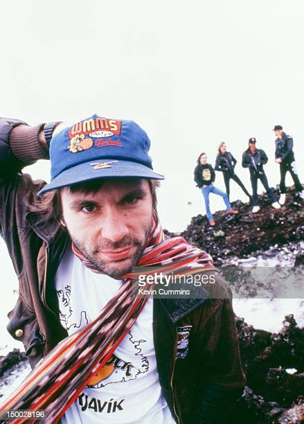 Singer Bruce Dickinson with the other members of British heavy metal group Iron Maiden in the background Iceland circa 1990