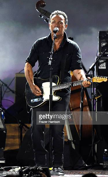 Singer Bruce Springsteen performs onstage at the 25th anniversary MusiCares 2015 Person Of The Year Gala honoring Bob Dylan at the Los Angeles...