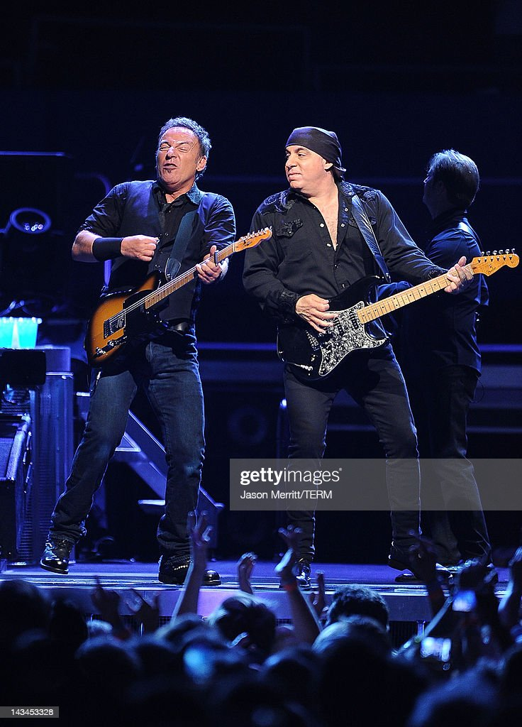 Singer Bruce Springsteen & The E Street Band perform in concert at the Los Angeles Memorial Sports Arena on April 26, 2012 in Los Angeles, California.