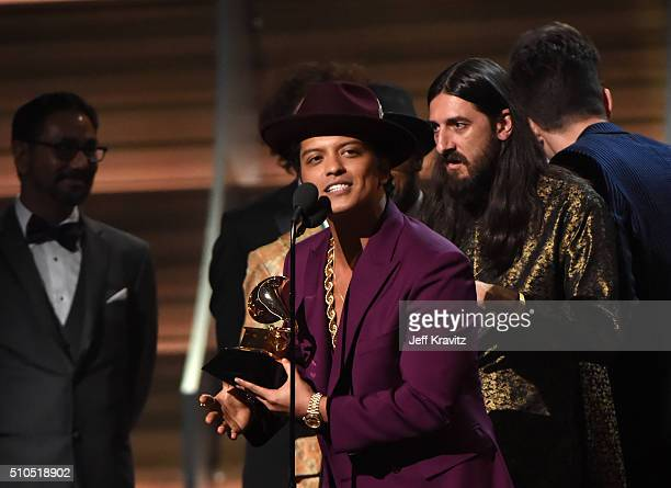 Singer Bruno Mars accepts the Record of the Year award for 'Uptown Funk' onstage during The 58th GRAMMY Awards at Staples Center on February 15 2016...