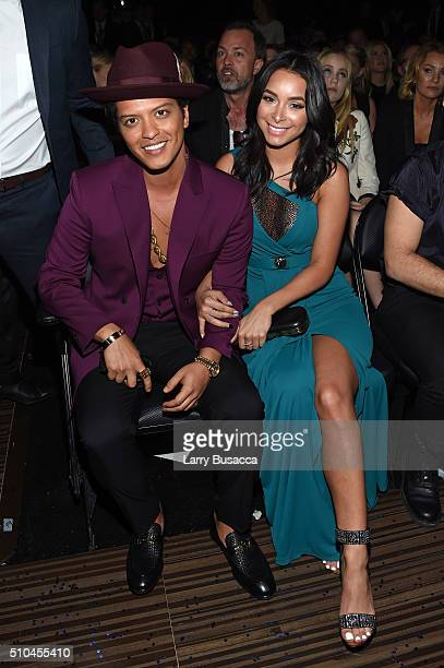 Singer Bruno Mars and Jessica Caban attend The 58th GRAMMY Awards at Staples Center on February 15 2016 in Los Angeles California