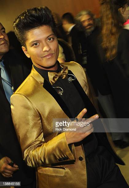 Singer Bruno Mars attends The 54th Annual GRAMMY Awards at Staples Center on February 12 2012 in Los Angeles California