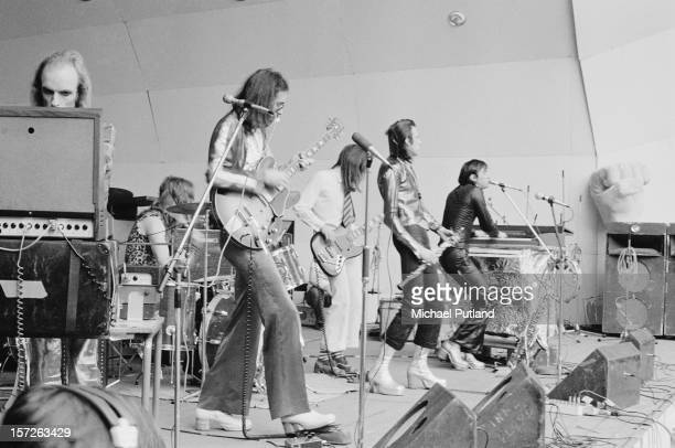 Singer Bryan Ferry and his band Roxy Music at the Crystal Palace Garden Party in London 29th July 1972 Left to right Brian Eno drummer Paul Thompson...