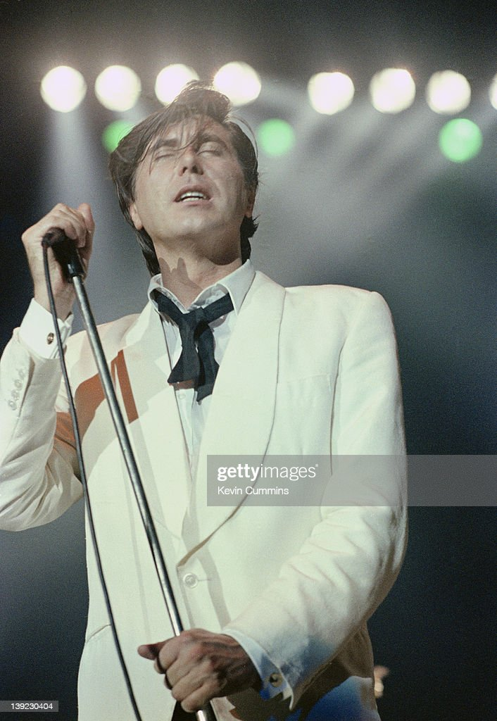 Singer Bryan Ferry performing with Roxy Music at Wembley Arena, London, 23rd September 1982.