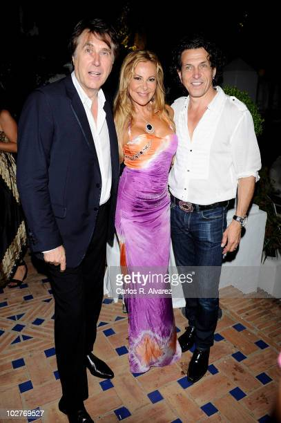 Singer Bryan Ferry Spanish actress Ana Obregon and Stephen Webster attend 'Stephen Webster Jewelry first anniversary in Spain' party at Marbella Club...